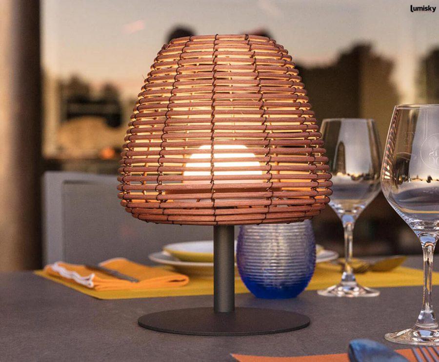 Boheme bezprzewodowa lampa stołowa ogrodowa technorattan LED Lumisky
