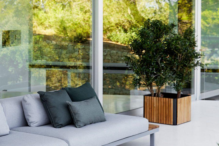 Combine donica ogrodowa kwadratowa drewno teakowe aluminium