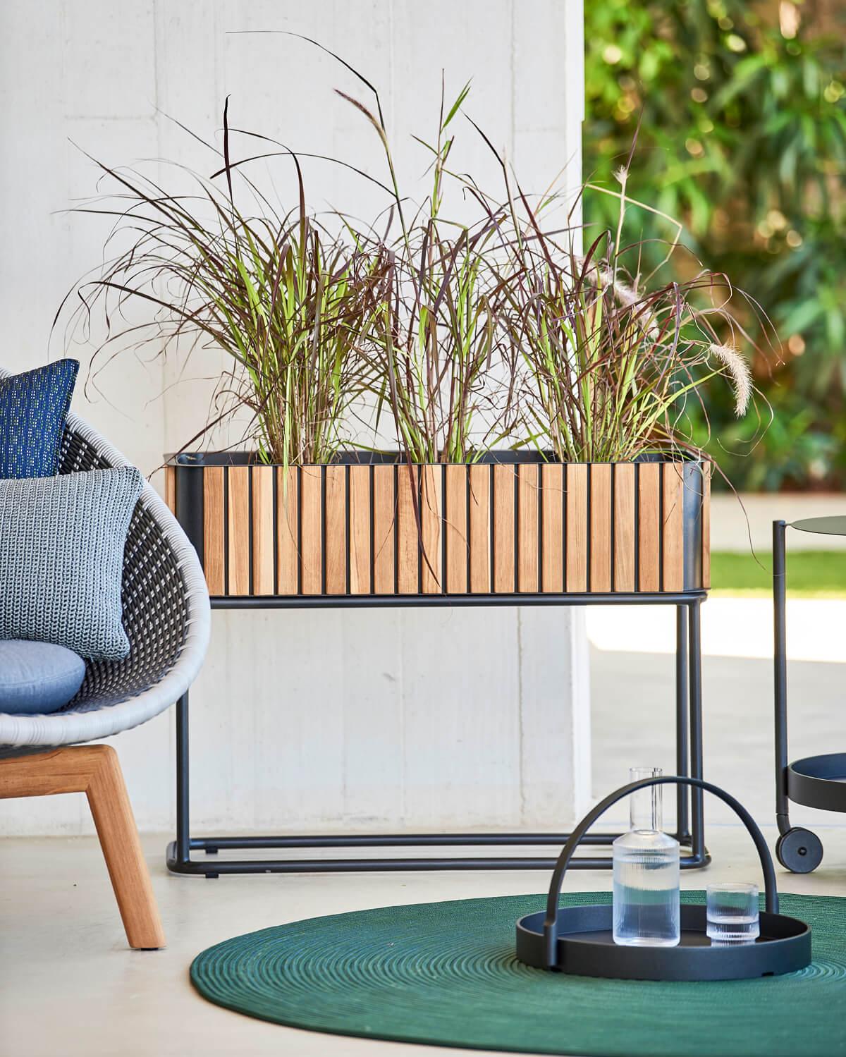 Combine donica ogrodowa prostokątna z podstawą aluminium drewno teakowe