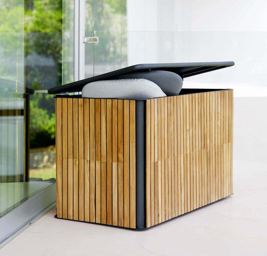 Combine skrzynia ogrodowa na poduszki aluminium drewno teakowe