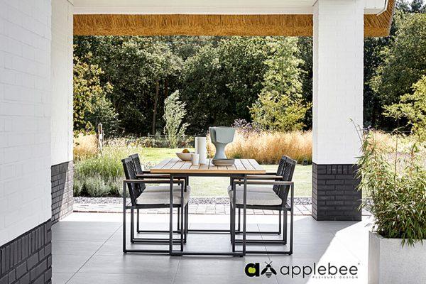 Dominica nowoczesny zestaw obiadowy ogrodowy dla 4 osób Apple Bee