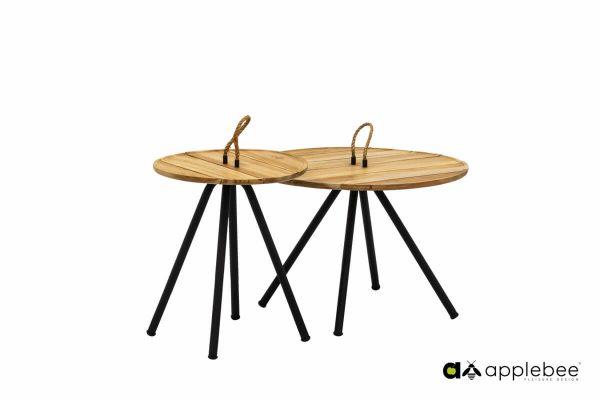 Elle zestaw ogrodowych stolików kawowych drewno aluminium Apple Bee
