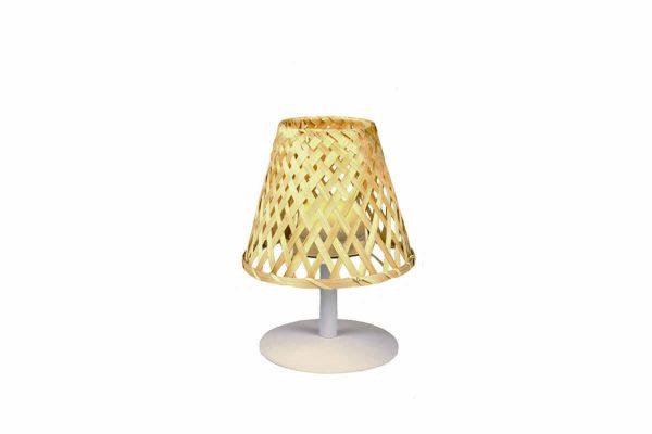 Ibiza bezprzewodowa lampa stołowa ogrodowa LED z kloszem z bambusa Lumisky