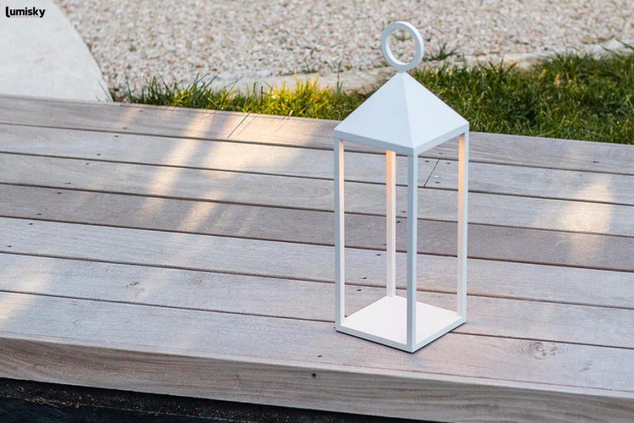 Nuna nowoczesna lampa ogrodowa LED biała latarnia Lumisky