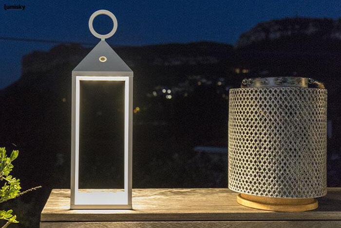 Nuna nowoczesna lampa ogrodowa LED lampion solarny Bali | Lumisky