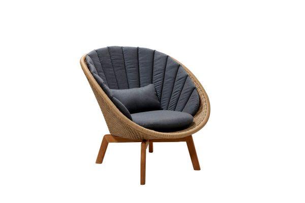 Peacock fotel ogrodowy technorattan naturalny brązowy szare poduszki