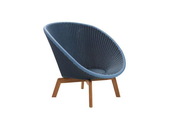 Peacock fotel ogrodowy technorattan niebieski bez poduszek