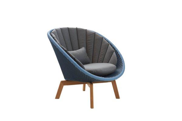Peacock fotel ogrodowy technorattan niebieski szare poduszki