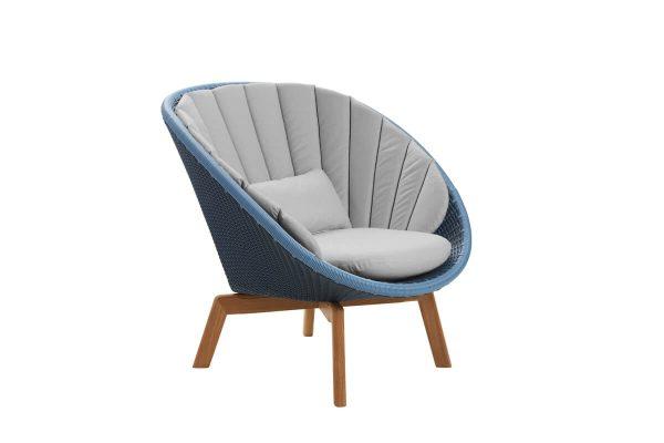 Peacock fotel ogrodowy technorattan niebieski jasnoszare poduszki
