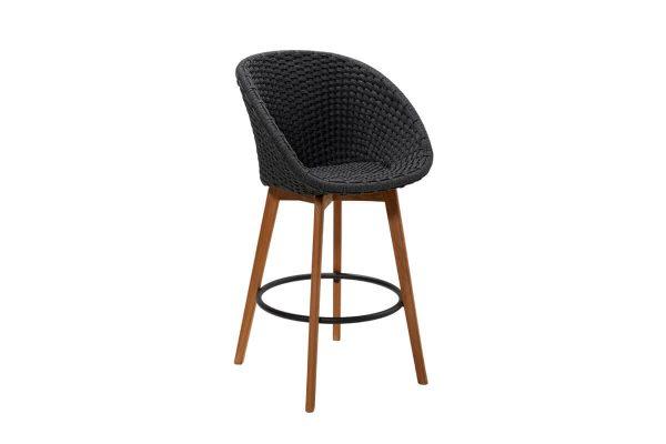Peacock krzesło barowe ogrodowe ciemnoszare bez poduszki