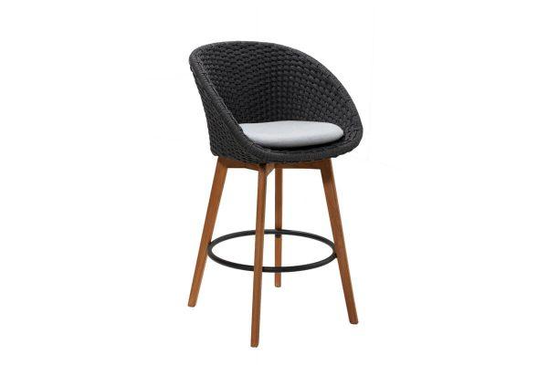 Peacock krzesło barowe ogrodowe ciemnoszare poduszka jasnoszara