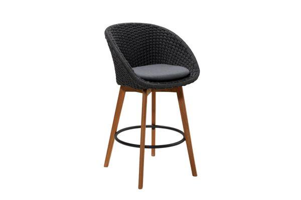 Peacock krzesło barowe ogrodowe ciemnoszare poduszka szara