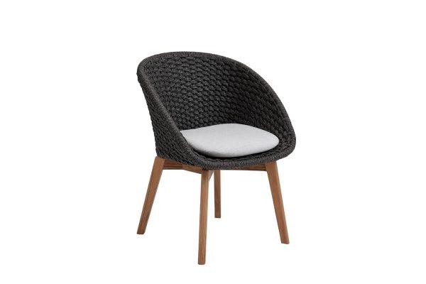 Peacock krzesło ogrodowe Soft Rope ciemnoszare z jasnoszarą poduszką