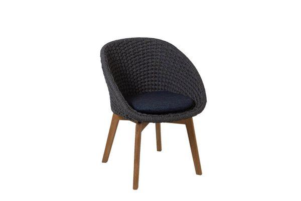 Peacock krzesło ogrodowe Soft Rope ciemnoszare poduszka ciemnoniebieska