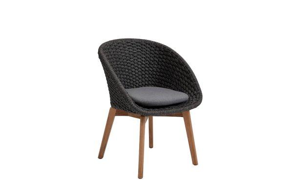 Peacock krzesło ogrodowe Soft Rope ciemnoszare szara poduszka