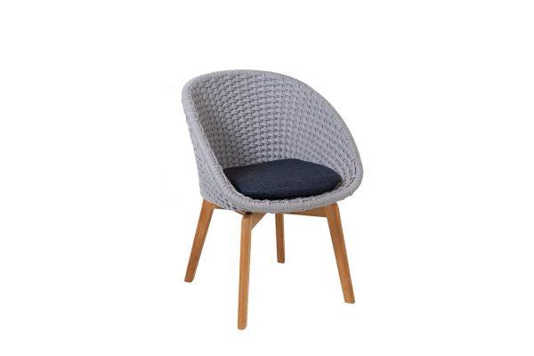 Peacock krzesło ogrodowe Soft Rope jasnoszare z ciemnoniebieską poduszką