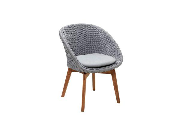 Peacock krzesło ogrodowe Soft Rope jasnoszare z jasnoszarą poduszką
