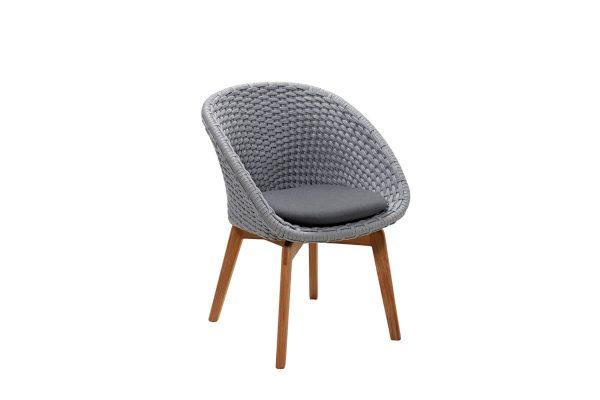 Peacock krzesło ogrodowe Soft Rope jasnoszare z szarą poduszką