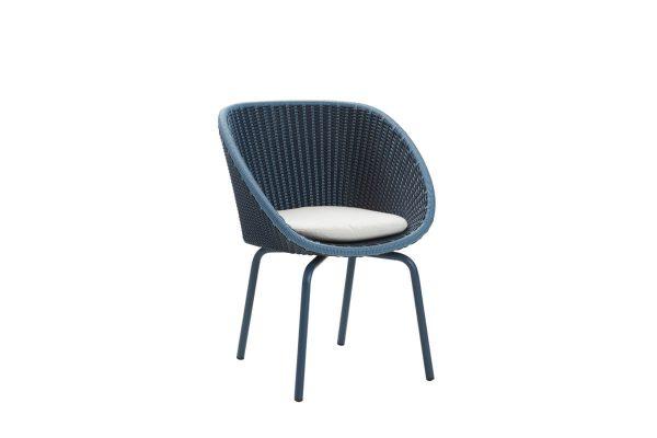 Peacock krzesło ogrodowe z technorattanu niebieskie poduszka jasnoszara
