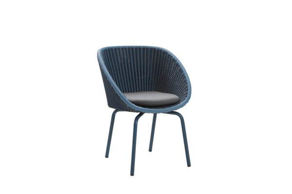 Peacock krzesło ogrodowe z technorattanu niebieskie z poduszką szarą