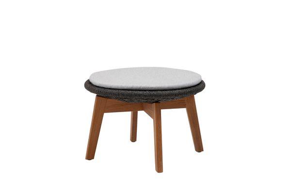 Peacock podnóżek ogrodowy stolik kawowy z liny Soft Rope z poduszką jasnoszarą | Cane-line