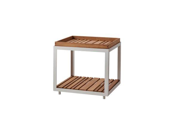 Level kwadratowy mały stolik kawowy do ogrodu 48 cm z blatem z drewna teakowego Cane-line