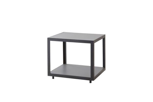 Level kwadratowy mały stolik kawowy do ogrodu 48 cm szare aluminium blat ceramiczny Cane-line