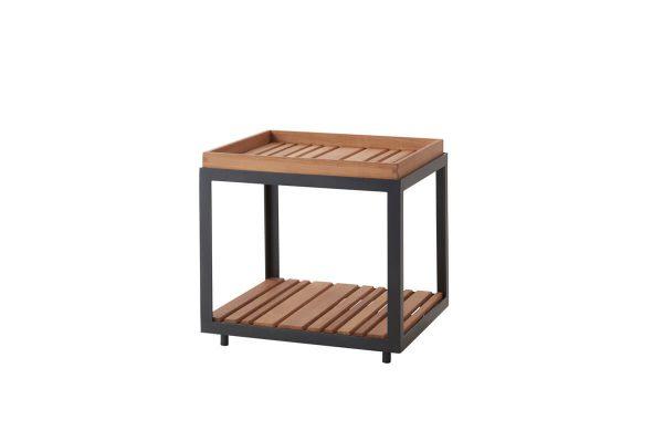 Level mały kwadratowy stolik kawowy ogrodowy 48 cm szare aluminium drewno teakowe luksusowe meble ogrodowe Cane-line