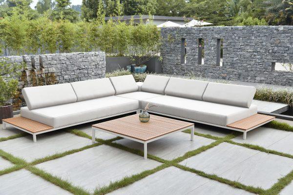 Positano nowoczesny narożnik ogrodowy z aluminium z regulowanymi oparciami Twoja Siesta luksusowe meble ogrodowe