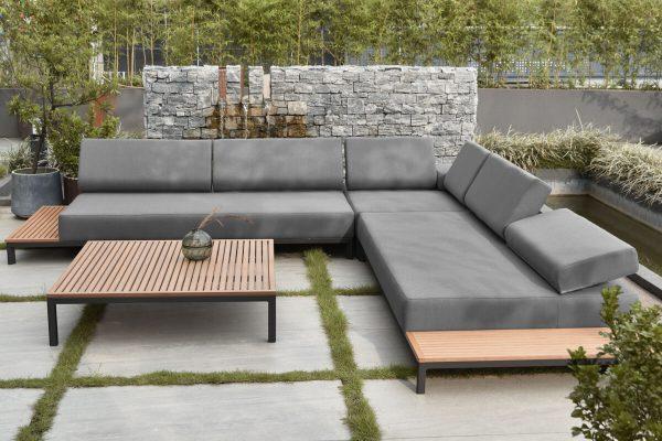 Salerno nowoczesny narożnik ogrodowy z aluminium zagłówki regulowane poduszki Olefin szare Twoja Siesta