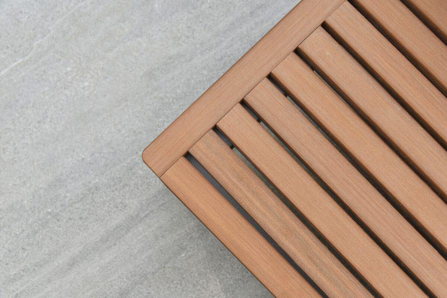 Sorrento nowoczesny narożnik ogrodowy z aluminium stolik kawowy z blatem z poliwood | Twoja Siesta luksusowe meble ogrodowe