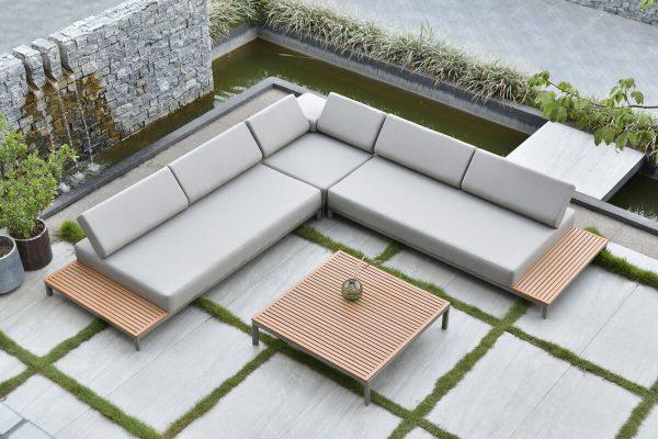 Sorrento nowoczesny narożnik ogrodowy z aluminium z regulowanymi oparciami Twoja Siesta luksusowe meble ogrodowe