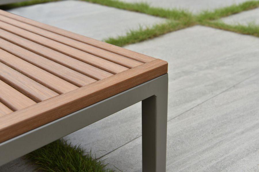 Sorrento nowoczesny narożnik ogrodowy z aluminium wbudowane stoliki kawowe | Twoja Siesta luksusowe meble ogrodowe