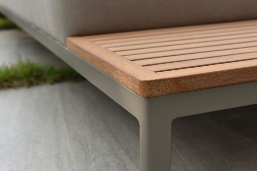 Sorrento nowoczesny narożnik ogrodowy z aluminium wbudowany stolik boczny   Twoja Siesta luksusowe meble ogrodowe