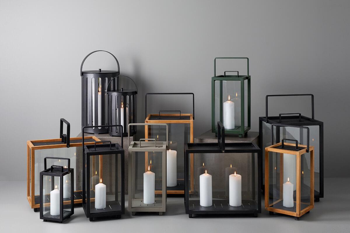 Lighthouse nowoczesny lampion ogrodowy drewno teakowe aluminium różne rozmiary kolory Cane-line