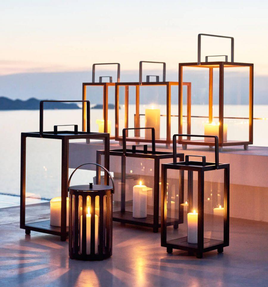 Lighthouse nowoczesny lampion ogrodowy z aluminium drewna teakowego Cane-line