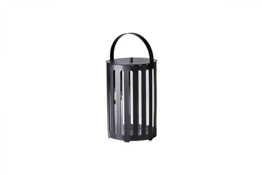 Lighttube ogrodowy lampion latarenka z aluminium duży rozmiar L ciemnoszare aluminium Cane-line luksusowe meble ogrodowe oświetlenie ogrodowe