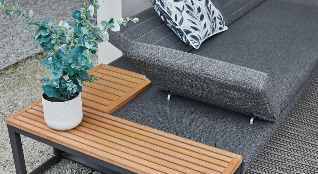 Bodo nowoczesna sofa ogrodowa leżanka z ruchomym oparciem rama ciemnoszara Twoja Siesta