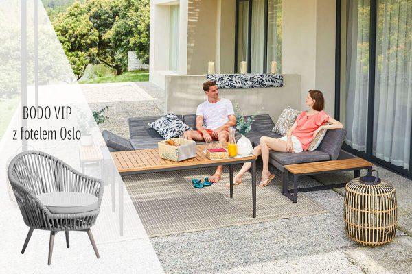 Bodo VIP zestaw wypoczynkowy meble ogrodowe aluminiowe narożnik ogrodowy fotel ogrodowy stoliki kawowe Twoja Siesta