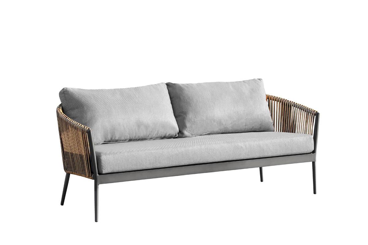 Groppo ogrodowy komplet wypoczynkowy sofa ogrodowa 2 osobowa technorattan aluminium Twoja Siesta luksusowe meble ogrodowe