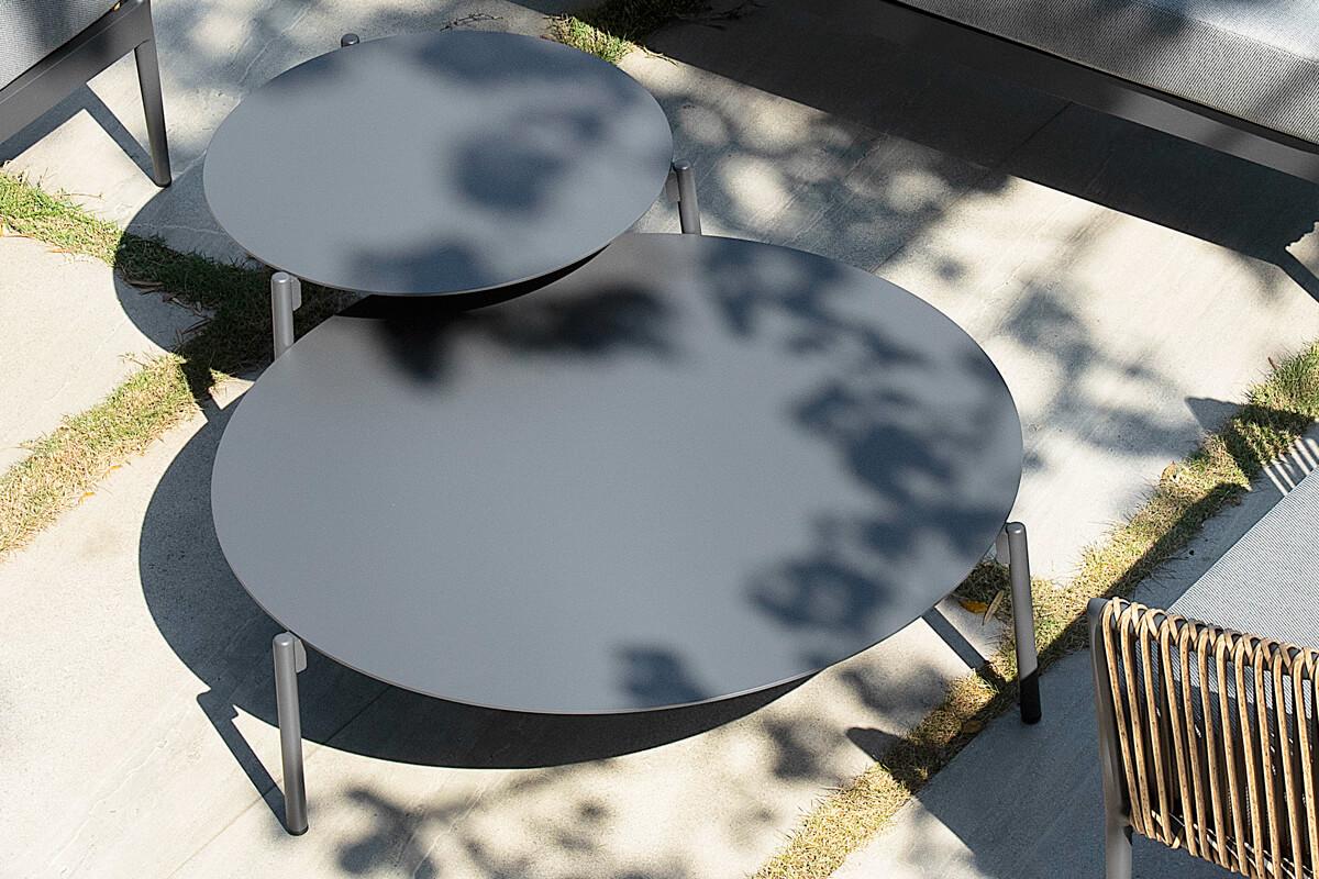 Groppo ogrodowy komplet wypoczynkowy stoliki kawowe aluminium ciemnoszare Twoja Siesta luksusowe meble ogrodowe