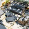 Groppo ogrodowy komplet wypoczynkowy z sofą 2 osobową technorattan aluminium Twoja Siesta luksusowe meble ogrodowe