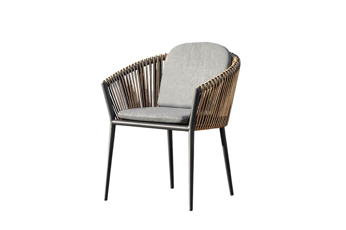 Groppo ogrodowy zestaw stołowy 6 osób krzesło ogrodowe technorattan orzechowy szare poduszki Twoja Siesta luksusowe meble ogrodowe technorattan