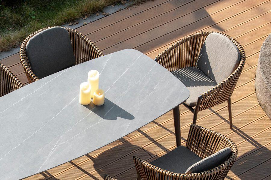 Groppo ogrodowy zestaw stołowy 6 osób stół do ogrodu krzesła ogrodowe zestaw mebli Twoja Siesta luksusowe meble ogrodowe technorattan
