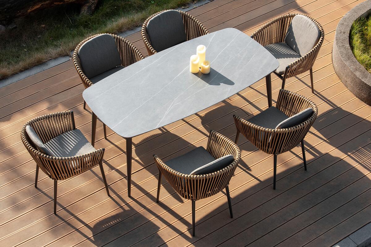 Groppo ogrodowy zestaw stołowy 6 osób stół krzesła ogrodowe zestaw mebli Twoja Siesta luksusowe meble ogrodowe technorattan