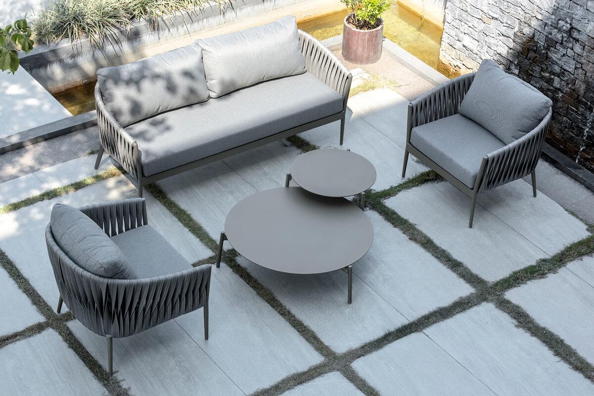 Manarola ogrodowy zestaw wypoczynkowy sofa ogrodowa dwa fotele ogrodowe stoliki kawowe Twoja Siesta