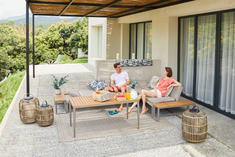 Oslo VIP zestaw wypoczynkowy meble ogrodowe z aluminium szarobeżowe meble wypoczynkowe Twoja Siesta