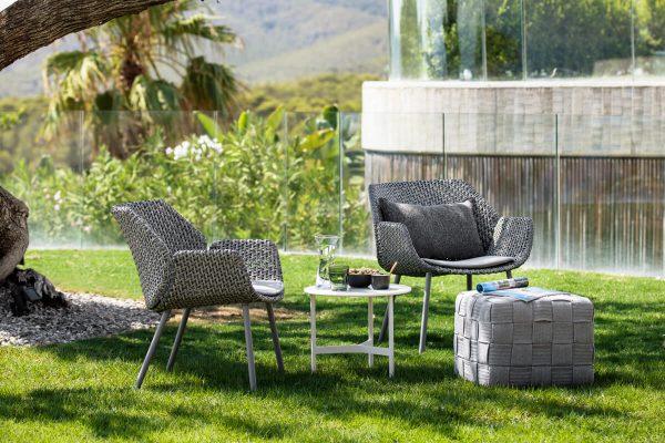 Vibe fotel ogrodowy z technorattanu szarobeżowa plecionka Cane-line