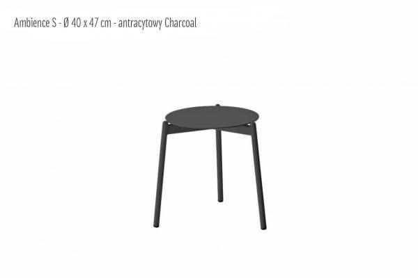 Ambience ogrodowy stolik kawowy z aluminium antracytowy charcoal mały small 40 cm | Twoja Siesta