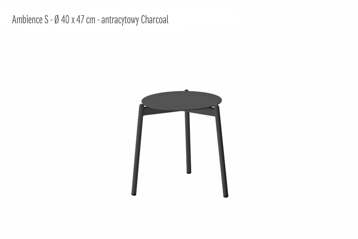 Ambience ogrodowy stolik kawowy z aluminium antracytowy charcoal mały small 40 cm   Twoja Siesta